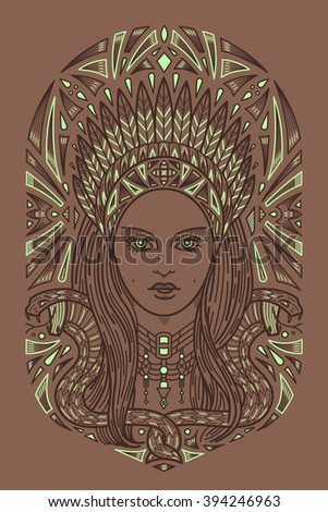 Art secession indian woman face. Ornament style art deco. T-shirt design, book, prints.