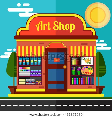 Art  shop for painters hobby market flat illustration.