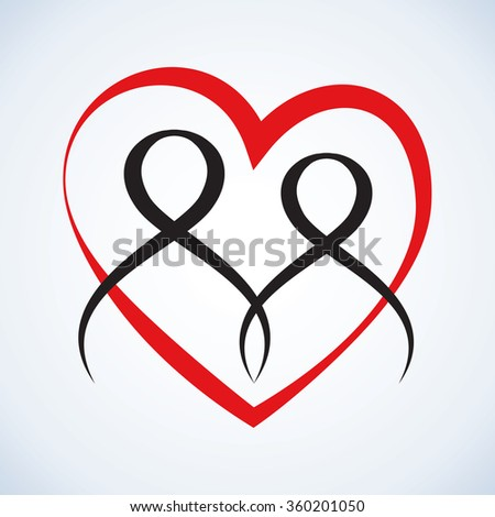 Art simple aid label linked 2 black shape body holding hands. Conceptual symbolic design happy life express amour, care, compassion, happy union guy and girl with glyph for text on white background - stock vector