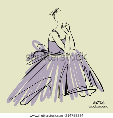 art sketch of beautiful sitting young sad and pensive bride. Vector background with space for text. - stock vector