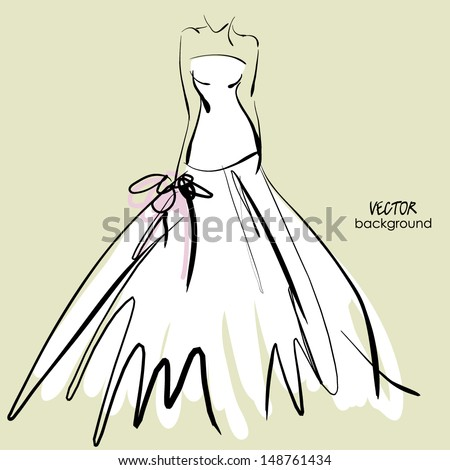 art sketch #5 of beautiful young bride in white dress and with the bride's bouquet. Vector background with space for text. - stock vector