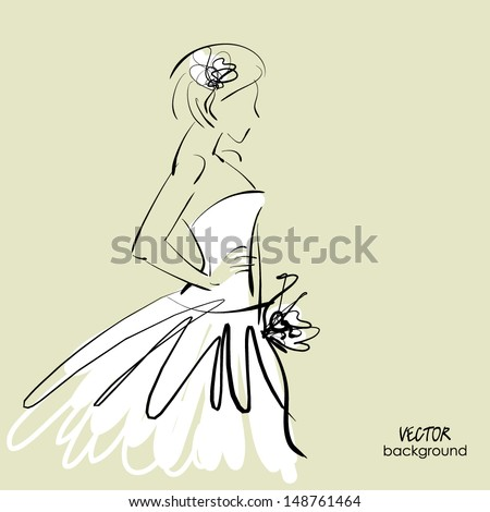art sketch #1 of beautiful young bride in white dress and with the bride's bouquet. Vector background with space for text. - stock vector