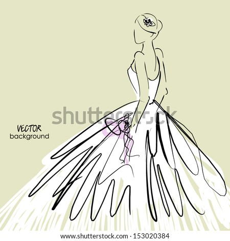 art sketch #2 of beautiful young bride in white dress and with the bride's bouquet. Vector background with space for text. - stock vector