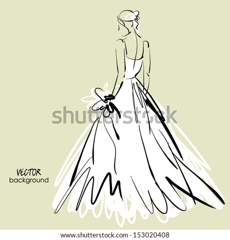 art sketch #3 of beautiful young bride in white dress and with the bride's bouquet. Vector background with space for text. - stock vector