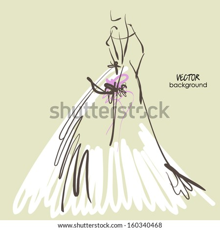 art sketch #8 of beautiful young  bride in white dress and with the bride's bouquet. Vector background with space for text. - stock vector