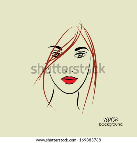 art sketched beautiful girl face from the front, with straight hair, in vector - stock vector