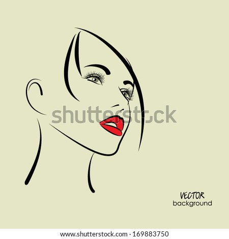 art sketched beautiful girl face in profile with straight hair, in vector - stock vector
