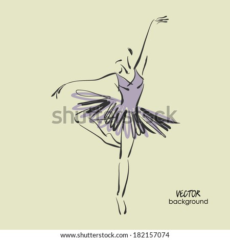 art sketched beautiful young ballerina with tutu in ballet dance  - stock vector