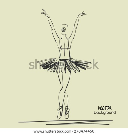 art sketched beautiful young ballerina with tutu turned her back and welcomes viewers. Vector illustration - stock vector