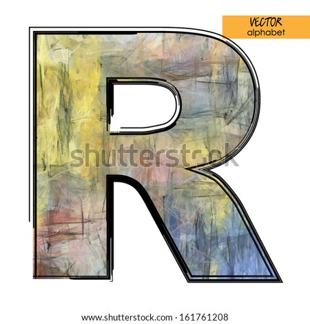 art sketched stylization alphabet in vector, colorful font, sign R - stock vector