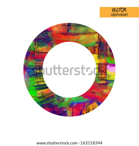 art sketched stylization alphabet in vector, rainbow font, drawn with colored pencils,  sign O - stock vector