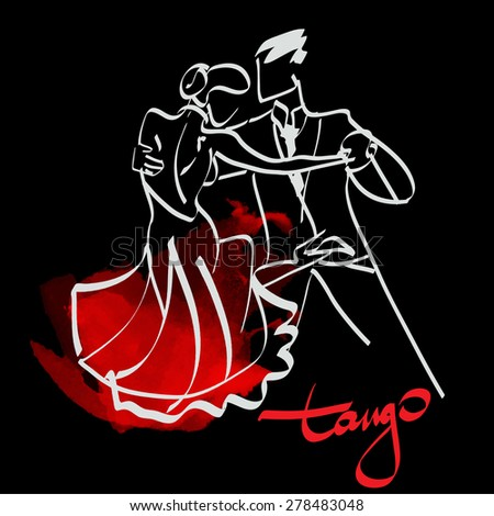 art sketched tango dancers  - stock vector