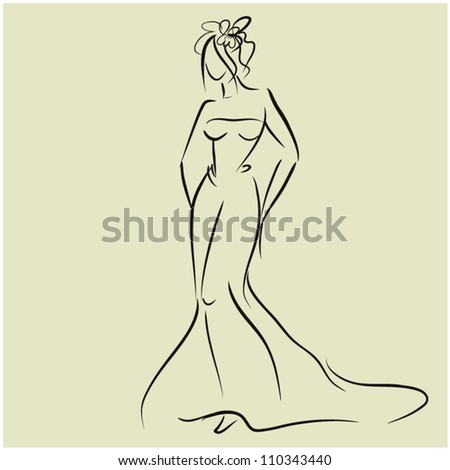 art sketching beautiful young bride. Sketchy vector with space for text. - stock vector
