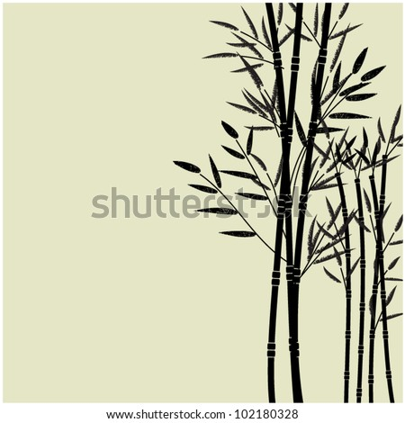 art sketching drawing of young bamboo,vector background with space for text