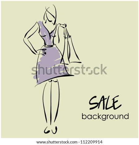 art sketching sale background with young woman and space for text
