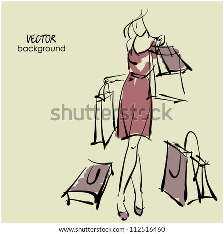 art sketching sale background with young woman and space for text - stock vector
