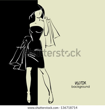 art sketching sale background with young woman in elegant dress and space for text - stock vector