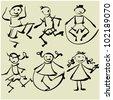 art sketching set #2 of vector children  symbols - stock vector