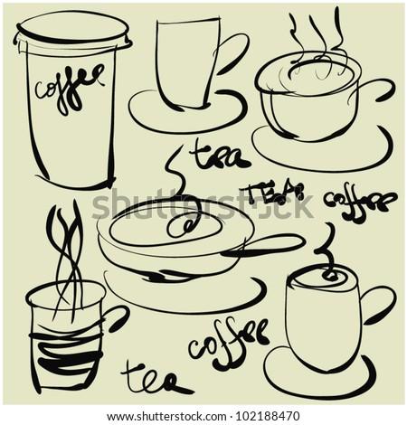 art sketching set of vector coffee and tea symbols - stock vector