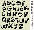 art sketching set of vector font  symbols - stock vector