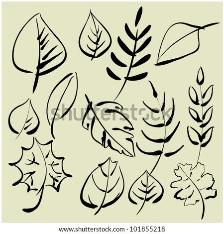 art sketching set of vector leaves symbols - stock vector
