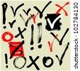 art sketching set of vector ticks symbols - stock vector