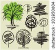 art sketching set #4 of vector trees symbols - stock vector