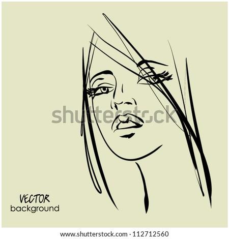 art sketching vector beautiful girl face symbols - stock vector