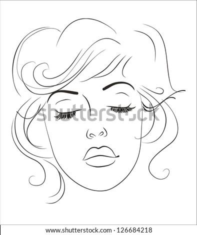 Woman face beauty mask template set stock vector 650925097 art sketching vector beautiful melancholy girl face symbols pronofoot35fo Gallery