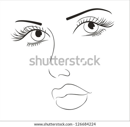 art sketching vector beautiful melancholy girl face symbols - stock vector