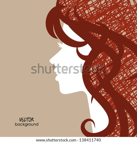 art sketching vector girl face  symbols with curly hair