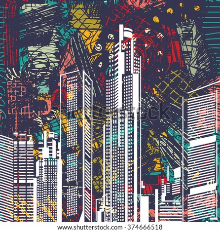 Art sky scraper abstract city view night landscape. Color vector illustration. EPS8 - stock vector