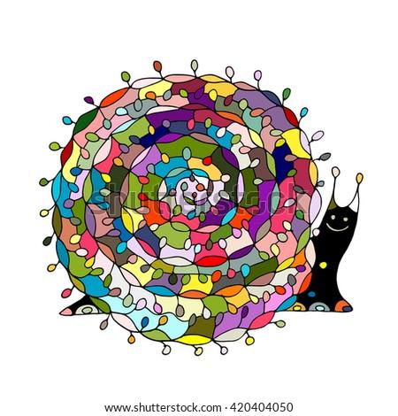 Art snail, ornate zentangle style for your design - stock vector