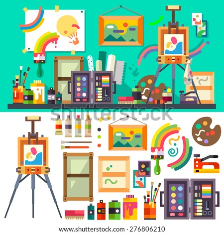 Art studio interior with all tools and materials for painting and creature.  The source of inspiration for the artist. Preparations for exhibition, paint, pictures, brushes Vector flat illustration - stock vector