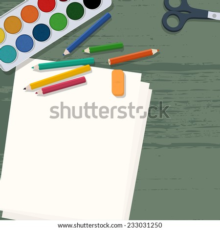 Art supplies on wooden desk (aquarel colors, pencils, papers & scissors) - stock vector