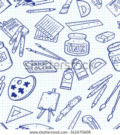 Art supplies seamless background - stock vector