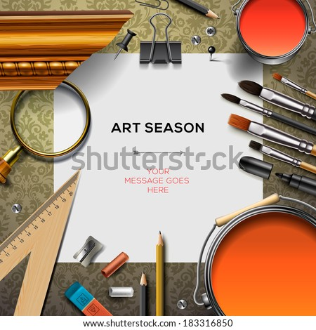 Art supplies template with artist tools, vector illustration.  - stock vector