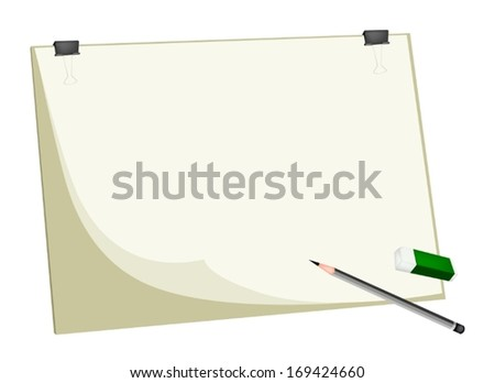 Art Supply, A Sharpened Detailed Pencil and Eraser Laying on Art Board or Artist Clipboard with Copy Space for Writing or Sketch and Draw A Picture.  - stock vector