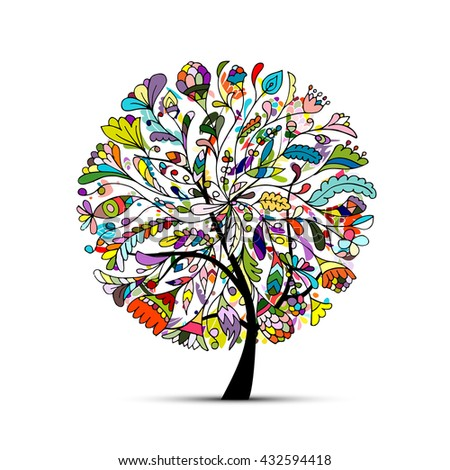Art tree beautiful for your design. Vector illustration - stock vector