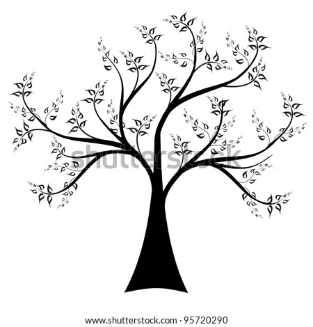 Art tree isolated on white background - stock vector