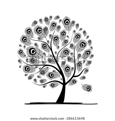Art tree with peacock feather for your design. Vector illustration - stock vector