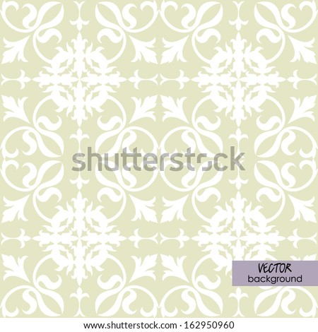 art vintage damask seamless pattern, white ornament on beige background in vector; #12 of collection - stock vector