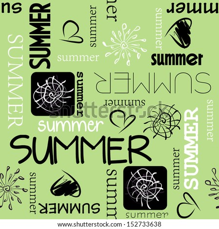 art vintage word pattern summer background in green, white and  black colors - stock vector