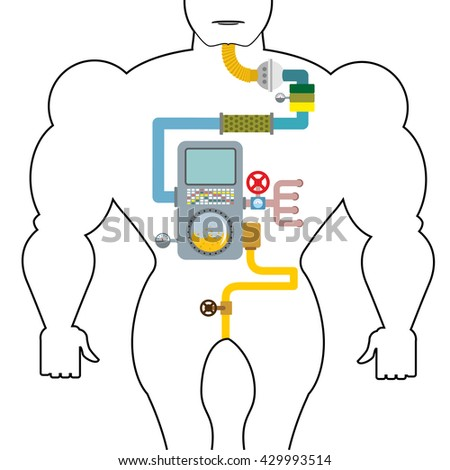 Artificial digestive tract. Digestion person. Throat and stomach. Pipes, tanks. Gates and devices. processing system. Treatment  mechanism. Valves, pipes. Sensors and tank. Device with screen, tubes - stock vector