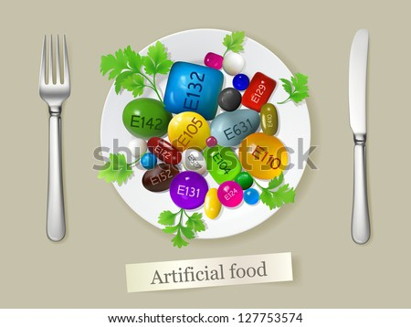 Artificial food made of synthetic colorants, additives, flavors and other chemical components. Vector illustration created using gradient meshes (EPS8) - stock vector