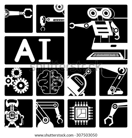 Artificial intelligence (AI), robot icons  - stock vector