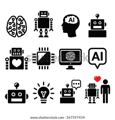 Artificial Intelligence (AI), robot icons set - stock vector