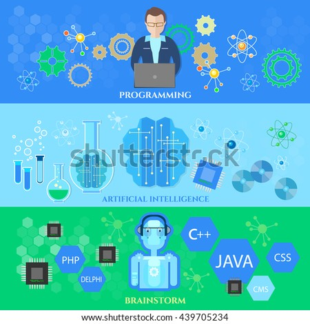 Artificial intelligence banners training neural networks creation of robots modern technologies microchips development future technologies vector illustration - stock vector
