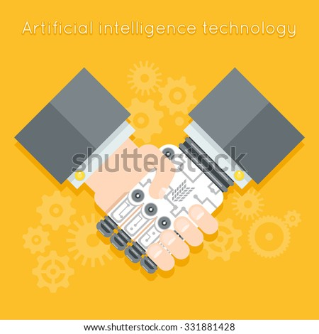 Artificial intelligence. Businessman and robot handshake. Futuristic cyborg, machine technology, robotic and human hand. Vector illustration - stock vector