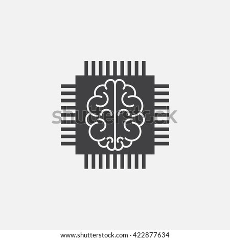 artificial intelligence icon vector, chip solid logo illustration, cpu pictogram isolated on white - stock vector